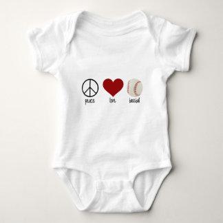Peace Love Baseball Baby Bodysuit