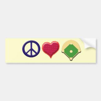 peace, love & baseball car bumper sticker