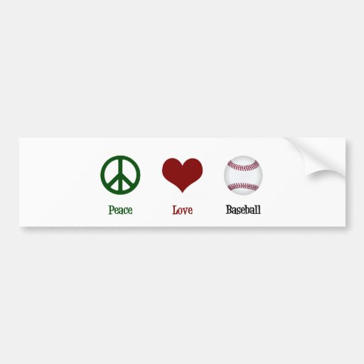Peace Love Baseball Bumper Stickers