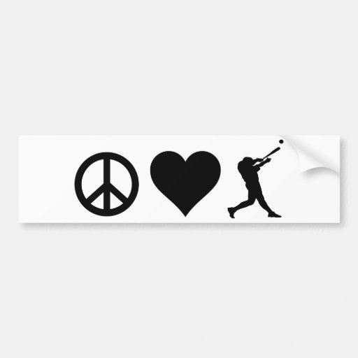 Peace Love Baseball Car Bumper Sticker