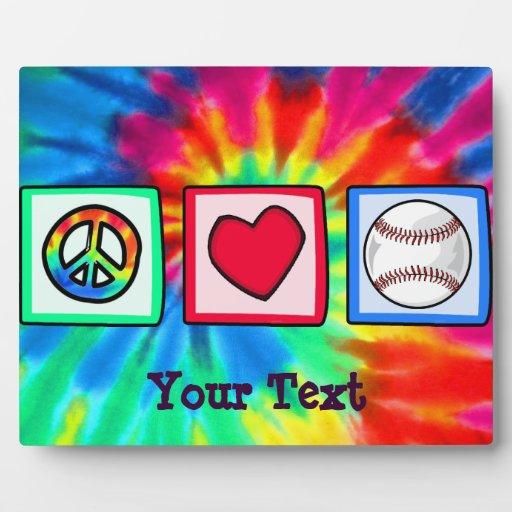 Peace, Love, Baseball Display Plaque