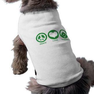 Peace Love Baseball Dog Shirt