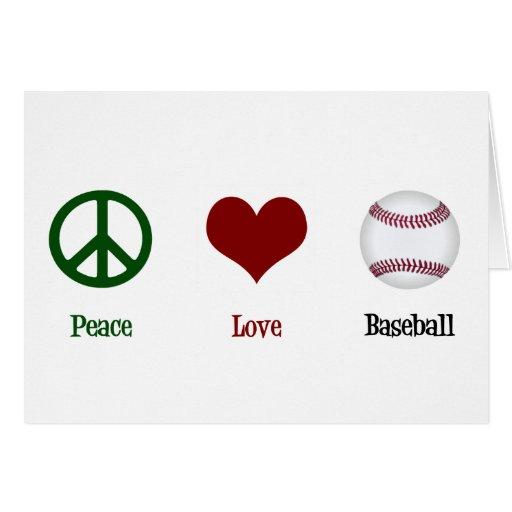 Peace Love Baseball Greeting Cards