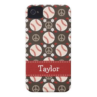 Peace Love Baseball iPhone 4 4s Case-Mate Cover