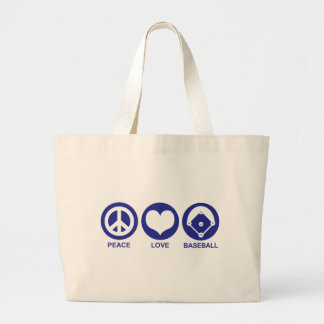 Peace Love Baseball Large Tote Bag