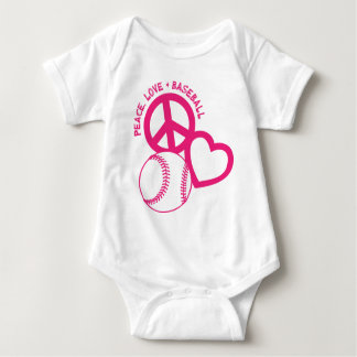 Peace-Love-Baseball, melon Baby Bodysuit