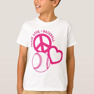 Peace-Love-Baseball, melon T-Shirt