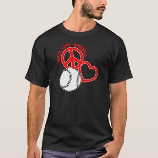 Peace-Love-Baseball, on black red T-Shirt