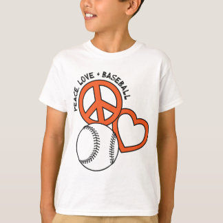 Peace-Love-Baseball, orange T-Shirt