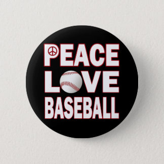 PEACE LOVE BASEBALL PINBACK BUTTON