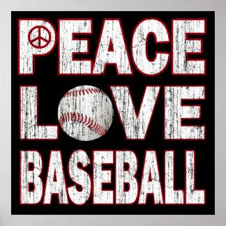PEACE LOVE BASEBALL POSTER