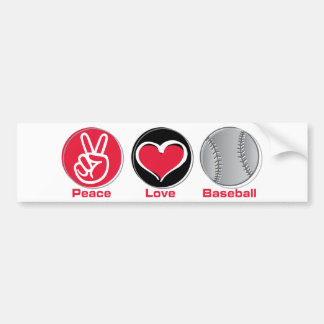 Peace Love Baseball red Bumper Sticker