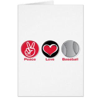 Peace Love Baseball red Card