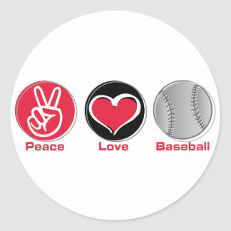Peace Love Baseball red Classic Round Sticker