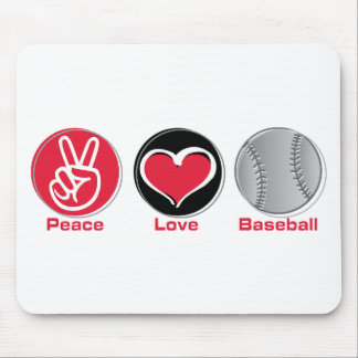 Peace Love Baseball red Mouse Pad