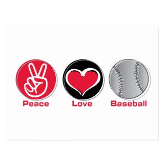 Peace Love Baseball red Postcard