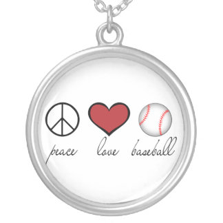 Peace Love Baseball Silver Plated Necklace