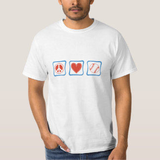 Peace Love Baseball Squares T-Shirt