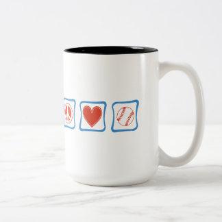 Peace Love Baseball Squares Two-Tone Coffee Mug