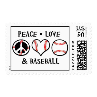 Peace Love Baseball Stamps