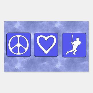 Peace Love Baseball Rectangular Sticker