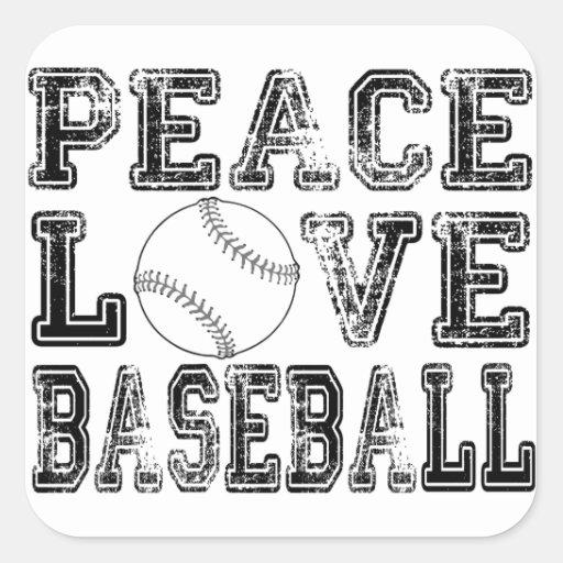 Peace, Love, Baseball Style 2 Square Sticker