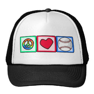 Peace, Love, Baseball Trucker Hat