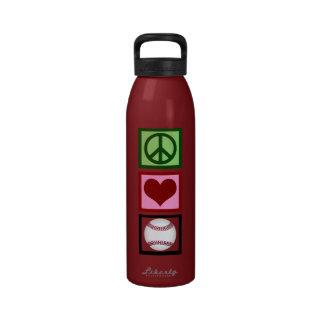 Peace Love Baseball Reusable Water Bottles