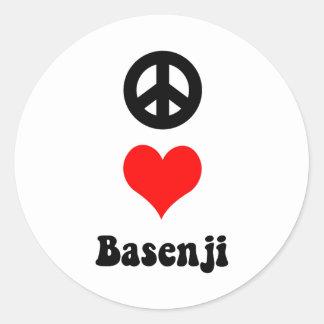 peace love Basenji Round Stickers