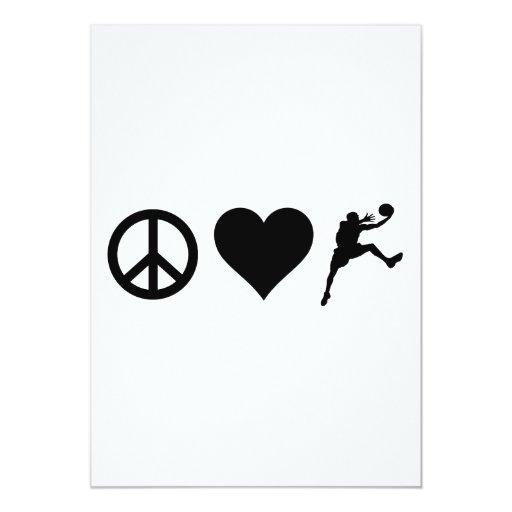 "Peace Love Basketball 5"" X 7"" Invitation Card"