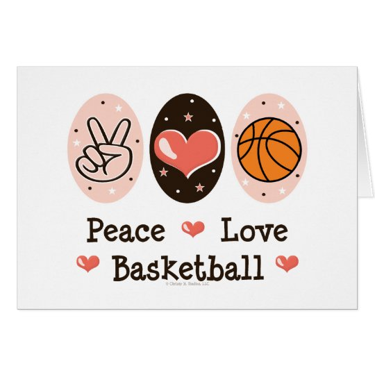 Peace Love Basketball Blank Greeting Card