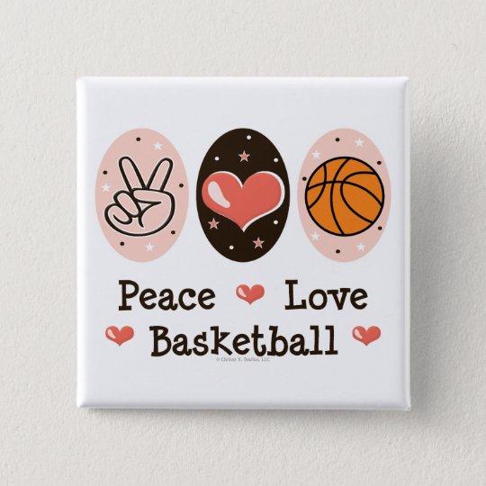 Peace Love Basketball Button