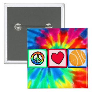 Peace, Love, Basketball 2 Inch Square Button