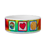 Peace, Love, Basketball Cat Water Bowls