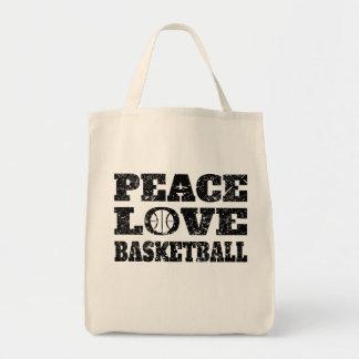 Peace Love Basketball (Distressed) Tote Bag