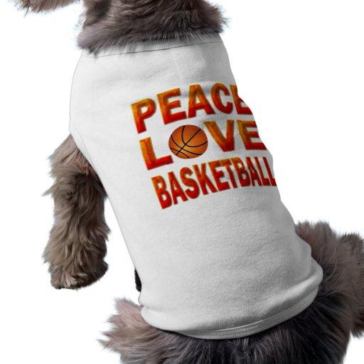PEACE LOVE BASKETBALL DOG T SHIRT