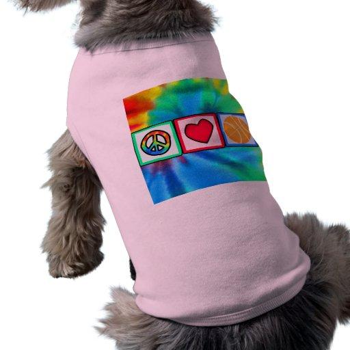Peace, Love, Basketball Doggie Shirt