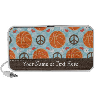 Peace Love Basketball Doodle Speakers Personalized