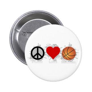 Peace Love Basketball Emblem Pinback Button