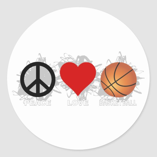 Peace Love Basketball Emblem Classic Round Sticker