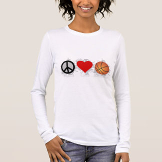 Peace Love Basketball Emblem Long Sleeve T-Shirt