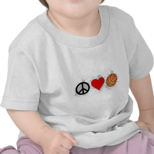 Peace Love Basketball Emblem Tee Shirts