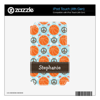Peace Love Basketball iPod Touch Skin 4g 4th Gen