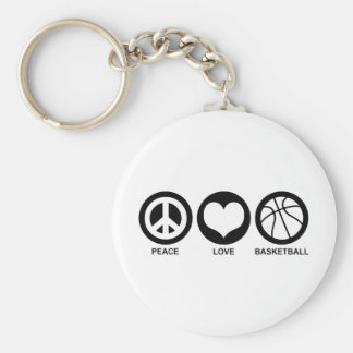 Peace Love Basketball Keychain