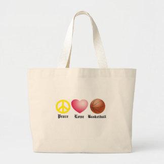 Peace, Love, Basketball Large Tote Bag