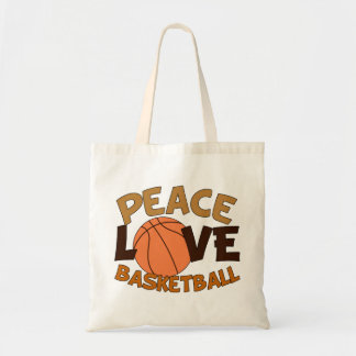Peace Love Basketball Orange/Brown Tote Bag