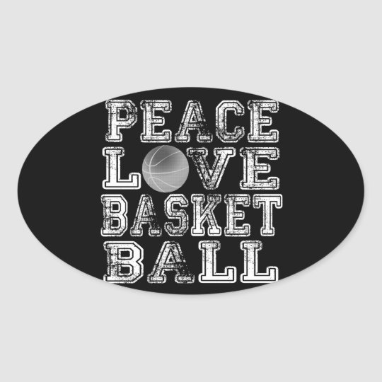 Peace, Love, Basketball Oval Sticker