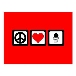 Peace love basketball postcard