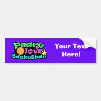 Peace, Love, Basketball; Retro Bumper Sticker
