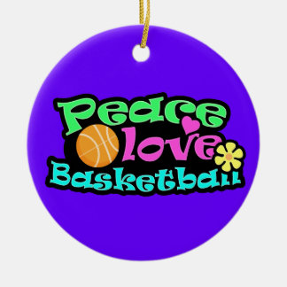 Peace, Love, Basketball; Retro Christmas Ornament